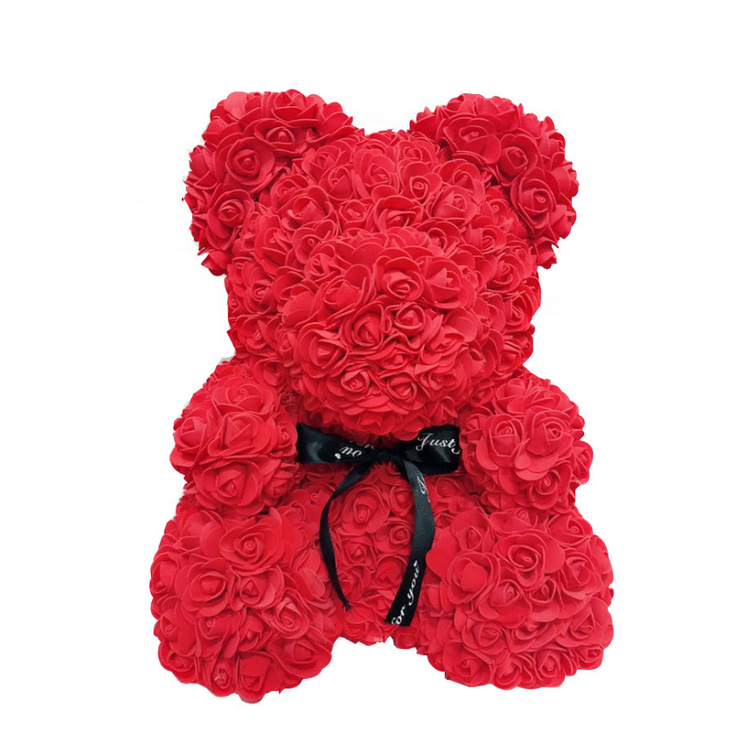 Customize Color Valentine Wedding Gifts Stuffed Toy Rose Flower Teddy Bear