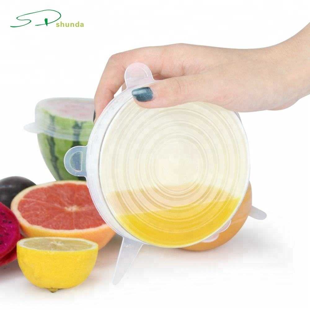 2019 Amazon New Products 6 Pcs Reusable Wrap Film Flexible Multi function Food Cover Stretch Wrap Silicone Stretch Lids