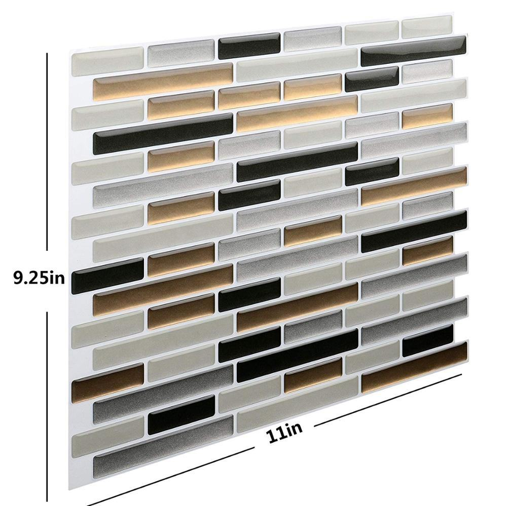 Peel and Stick DIY Backsplash Wall Tile Vinyl 3D Wall Sticker Mosaic Adhesive Fireplace Tile Waterproof Interior Wall Decoration