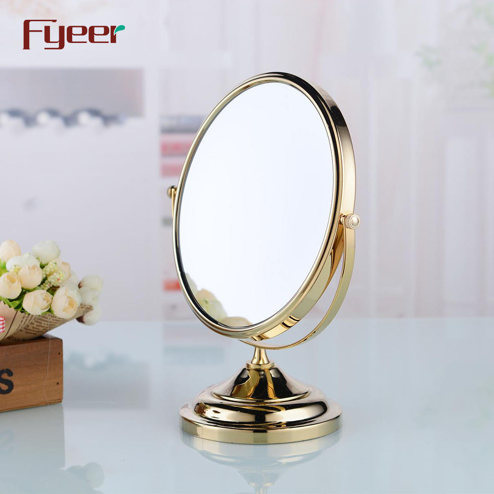 Fyeer Modern Round Brass Golden Makeup Mirror