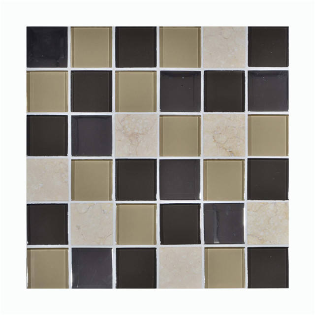 Manufacturer Bathroom Tile /8mm GLASS MIXED STONE mosaic wall tile with 48*48 chips