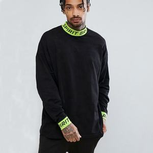 OEM mens oversized long sleeve t-shirt with printed rib