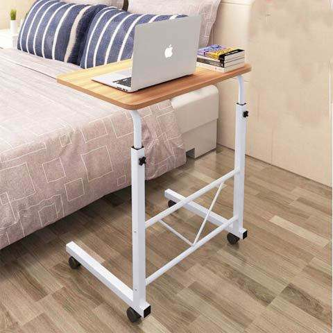 Removable adjustable wooden computer desk / laptop table with wheels