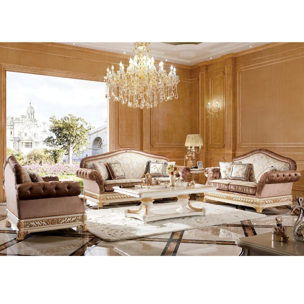 YB62 Elegant White & Gold Living Room Sofa Set, Luxury Gold Painted Furniture, Imperial Wood Carved Four Seater Sofa