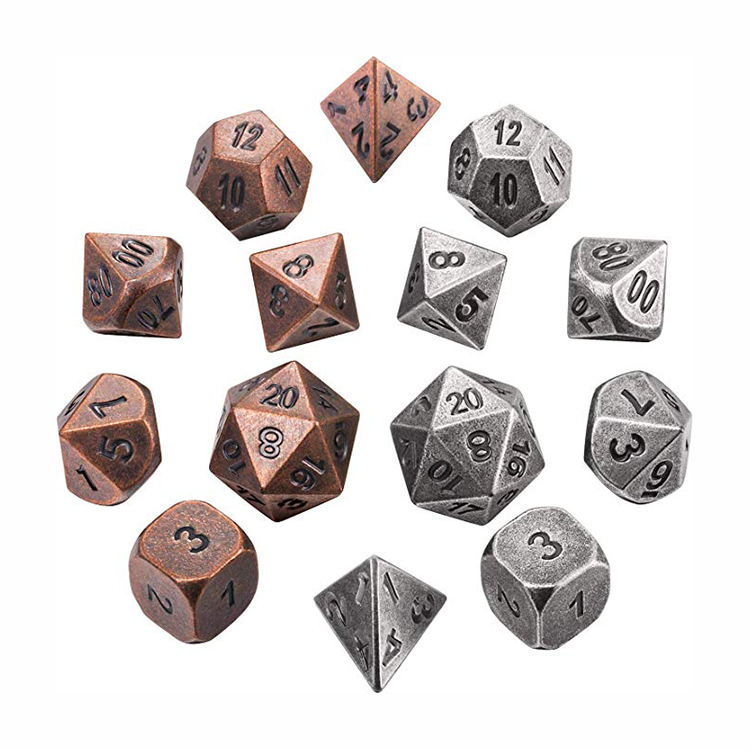 Low Price Durable Polyhedral Solid Zinc Alloy Metal Dice