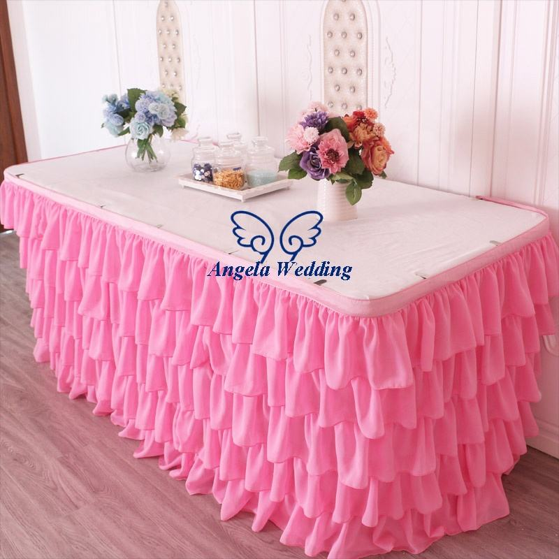 SK008B custom made Wedding five tiered pleated pink chiffon table skirt or table cloth