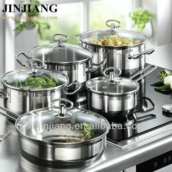 10pcs color silicon base nonstick Cookware with glass LId
