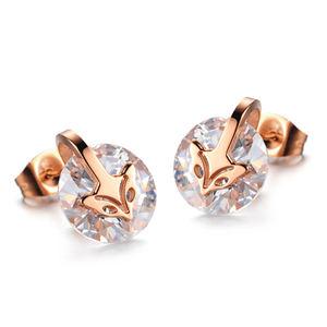 Best Seller 12 Pairs Lot Trendy Stainless Steel Jewelry Fox Head Stud Earrings