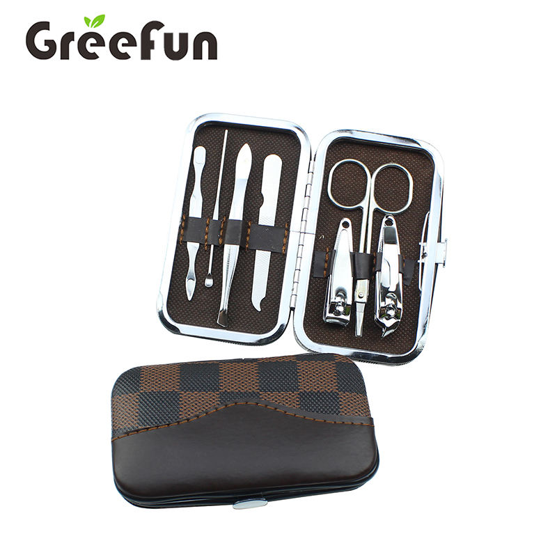 Manicure Pedicure Set Nail Art Set Tools for Thick or Ingrown Nails with Black Leather Bag Stainless Steel Manicure Pedicure Set