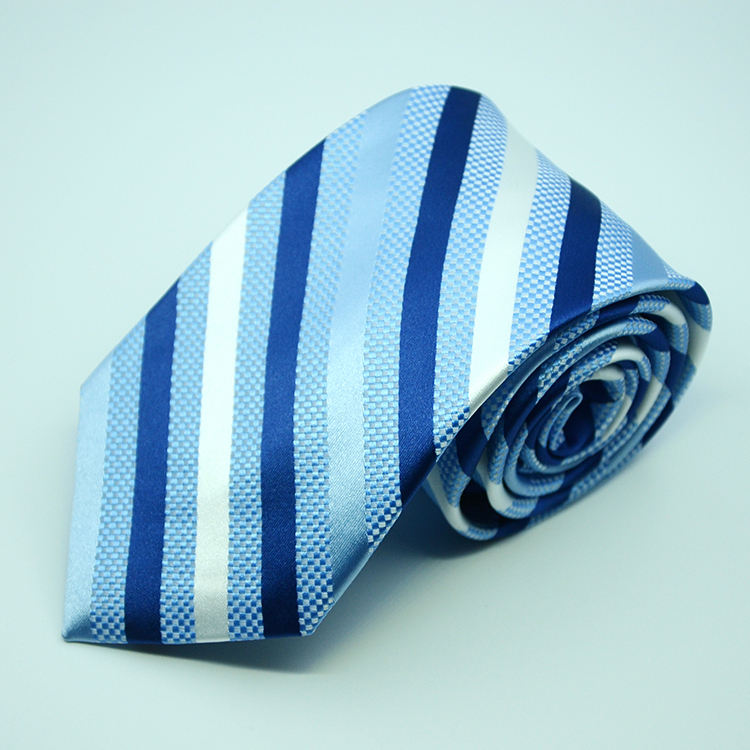 Wholesale High quality woven polyester jacquard striped men's necktie custom