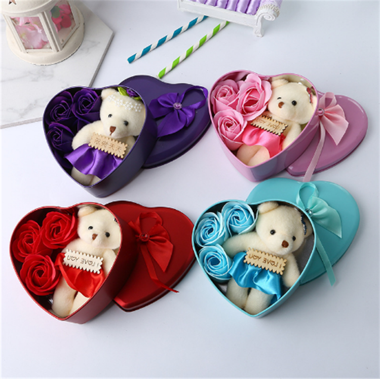 Wedding Valentine's Day Gift Tin Box Heart Shape Romantic Color Perfumed Soap Flowers With Bear