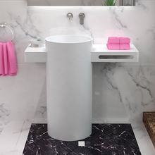 Round Bathroom Pedestal Sink Artificial Stone Freestanding Hand Wash Basin