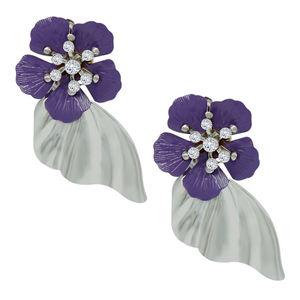 Wholesale Indian Bulk Lots Non-Pierced metal purple floral Clip On Earrings
