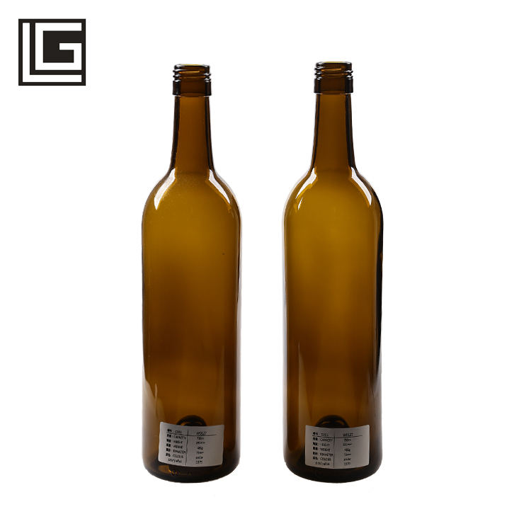 Recyclable environment friendly amber glass wine bottle 750ml