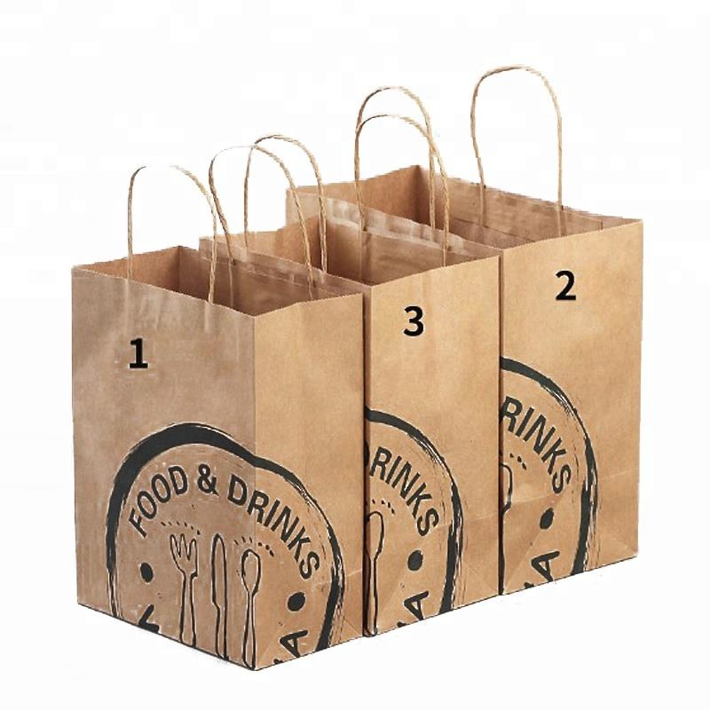 Di imballaggio fast food grcoery marrone di carta kraft <span class=keywords><strong>shopping</strong></span> trasportare borse con manici