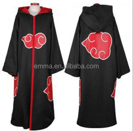 Factory price naruto akatsuki cloak cosplay costume excellent quality akatsuki cloak for halloween party BMG-4015