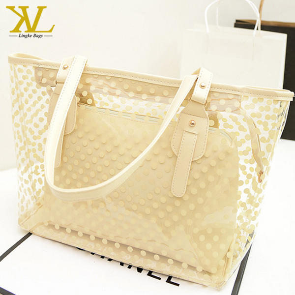 Transparent PVC Beach Handbag Carrier Tote Shoulder Bag