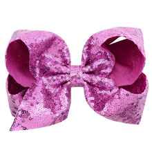 8 inch Jojo hair bow hot pink sequin bow kids accessories