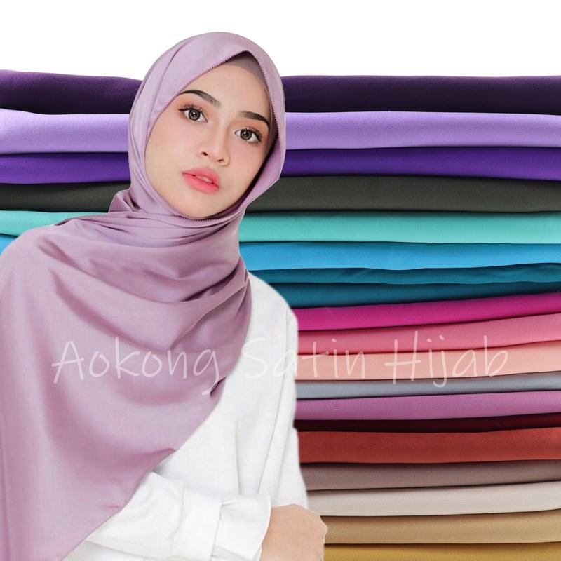Malaysia head scarf mixed colors wholesale new fashion solid silk scarf wraps cheap plain satin hijab scarf