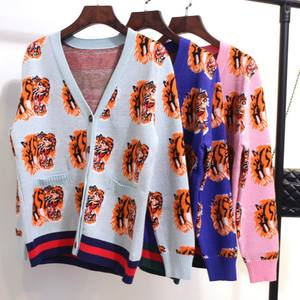 Custom Sweater Tiger Logo Jacquard Thick Warm Ladies Cardigan Sweaters