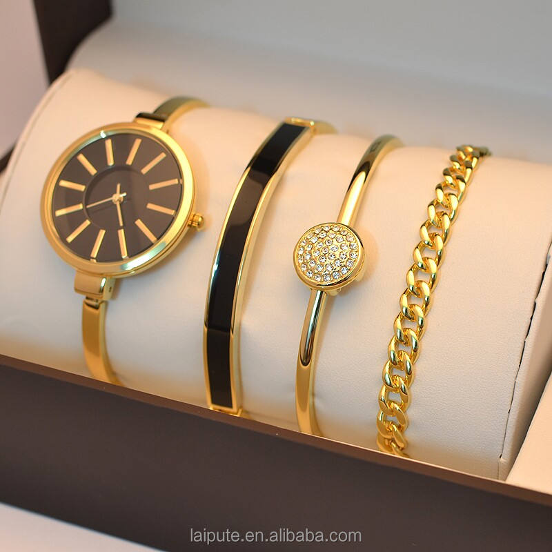 2019 relojes de mujer lady jewelry Watch Gift Set gold tone USA standard CA Prop 65 compliant