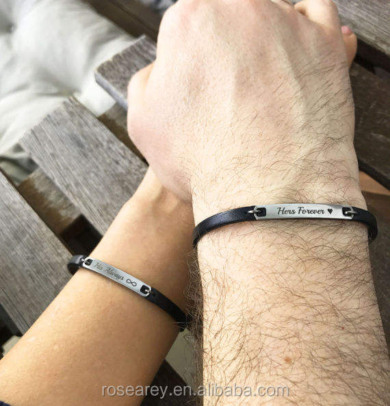 Always and Forever Unique BlackLeather Couple Bracelet His and Her Personalized Jewelry Boyfriend Girlfriend Christmas Gifts