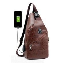 Chest Bag for Men Crossbody Shoulder Bag Men's USB charging Headphone plug Designer Leather Messenger Bag bolsa de cintura