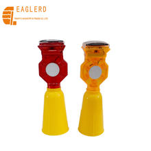 Road Safety Flexible solar flashing traffic cone LED warning traffic cone light