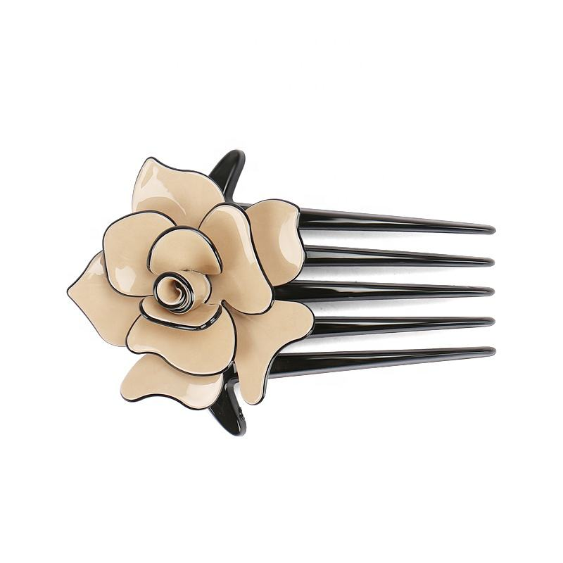 AliExpress Hot Sales Hair Comb Fashion Camellia Acrylic Hair Comb Clips Flower Wedding Hair Combs for Women