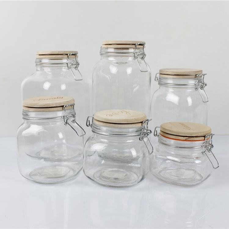 1000ml square clamp wooden lid glass honey mason jar wholesale/glass jar with lock lid