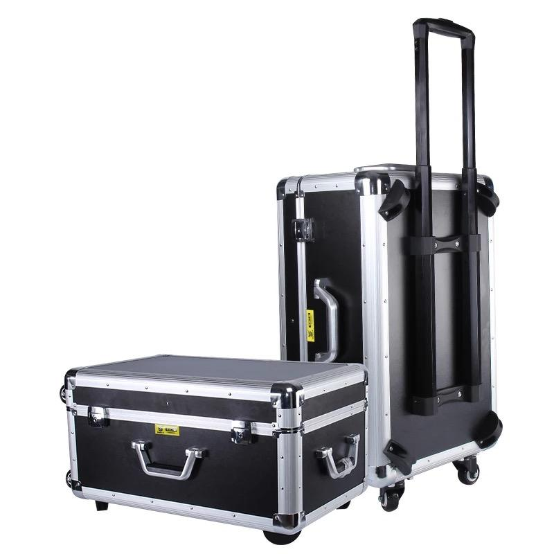 Heavy duty black aluminium carrying trolley case with foam