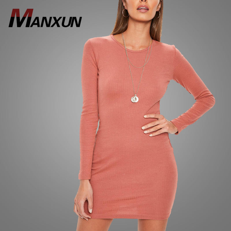 Wholesale Cheap Elastic Rose Red Ribbed Bodycon Mini Dress Casual Cotton Lady Long Sleeve Dresses