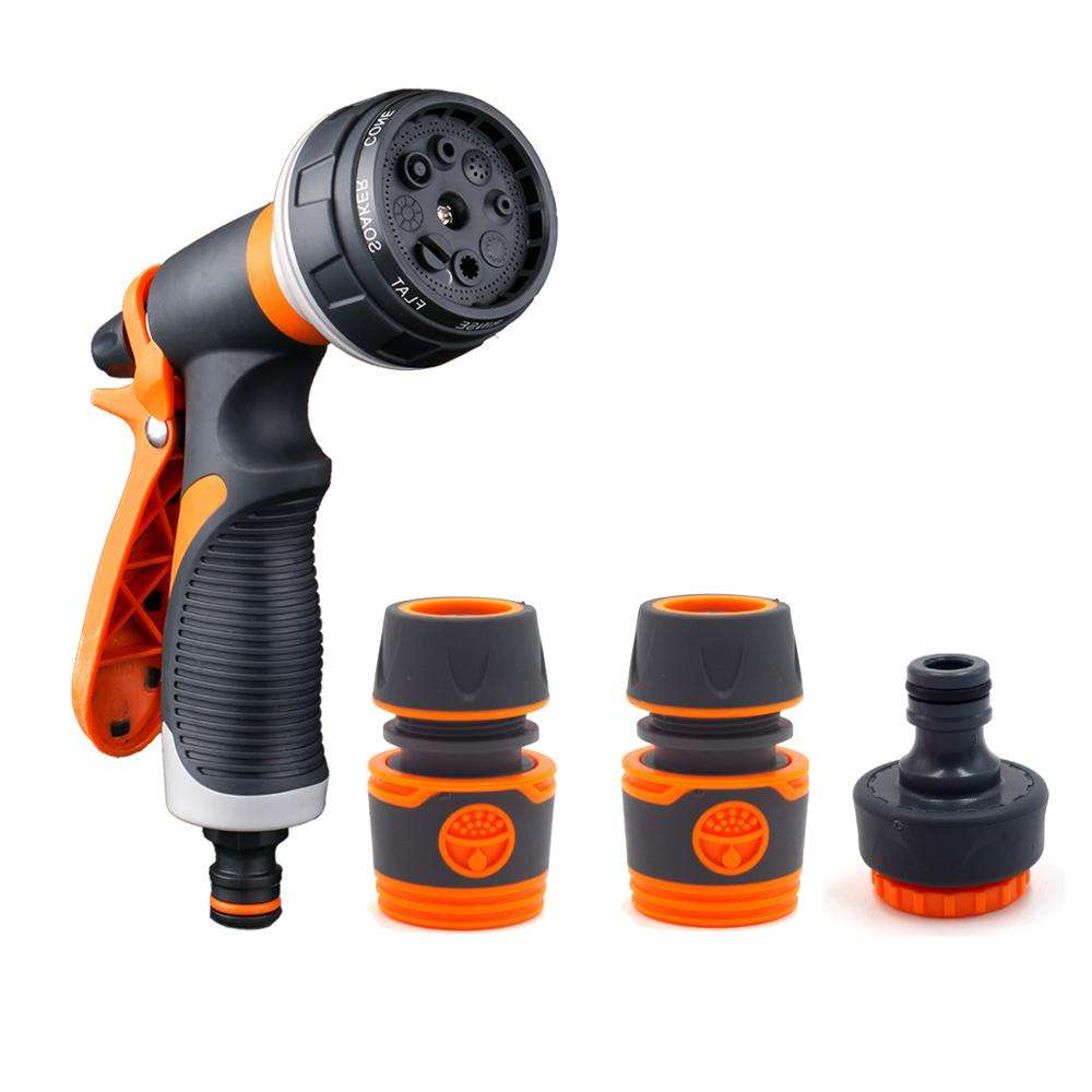 Plastic 8 pattern garden hose nozzle with connector