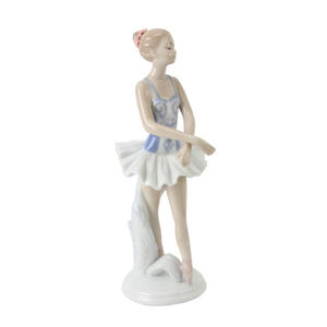 Ceramic Ballet Dancer Figurines Porcelain Ballet Dancer and Ballerina on the Floor Taiwan Meico Inc Sculpture Made in Republic of China