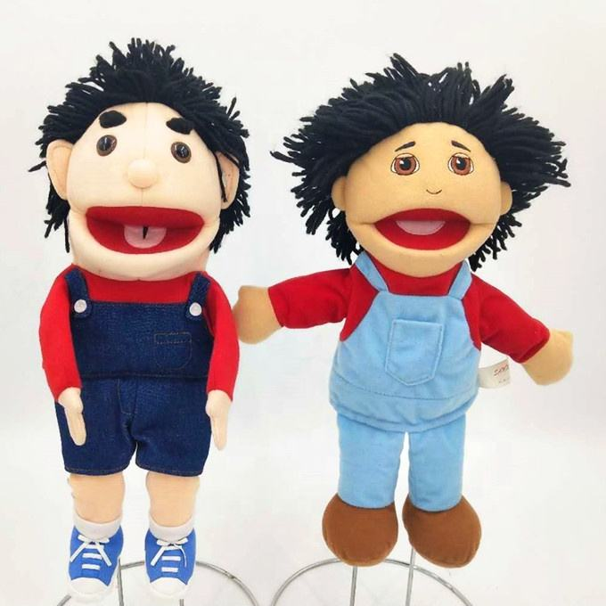 Custom lovely new designs student puppets cute teaching aid plush puppets for kids