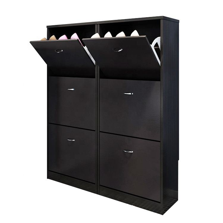 2018 hot saling modern simple design black shoe rack