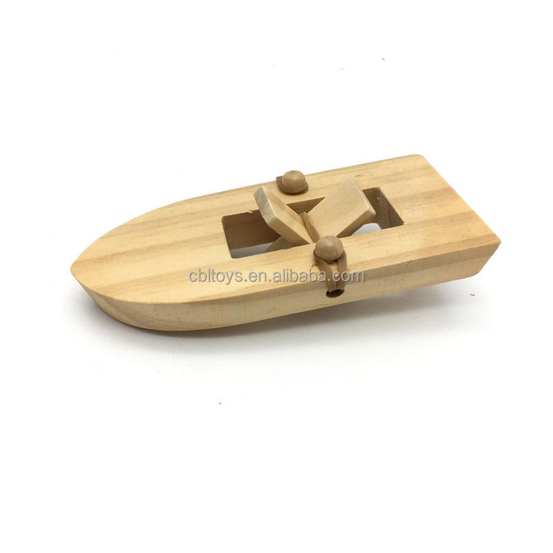 DIY rubber band wooden paddle boat science educational toys for kids