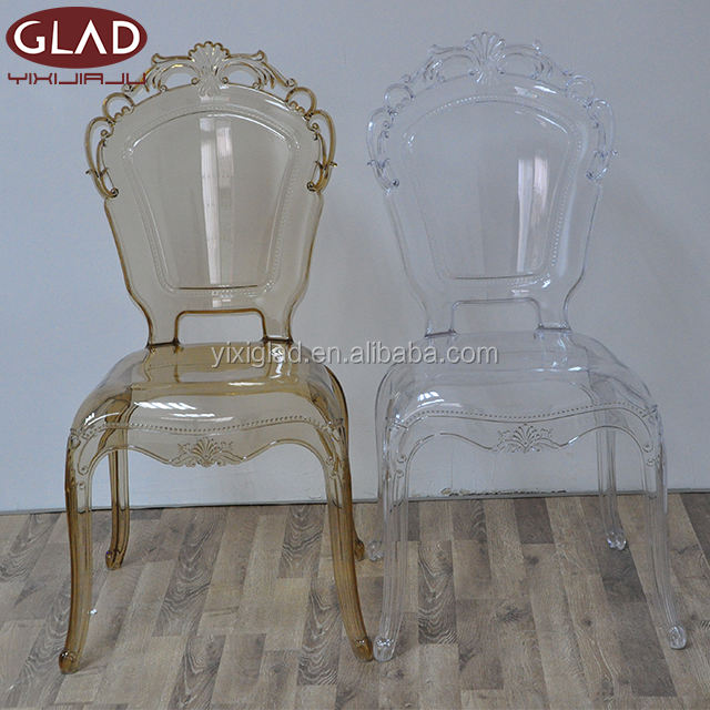 Cheap crystal clear resin transparent stacking acrylic crown wedding princess chair