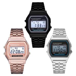 Sport Watch stainless steel band men women digital waterproof watch