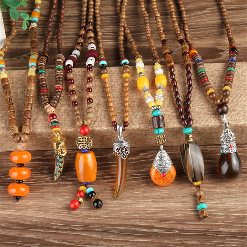 Women Men Nepal Buddhist Mala Wood Beads Necklaces Natural Stone Pendant Necklace Ethnic Horn Long Statement Necklace