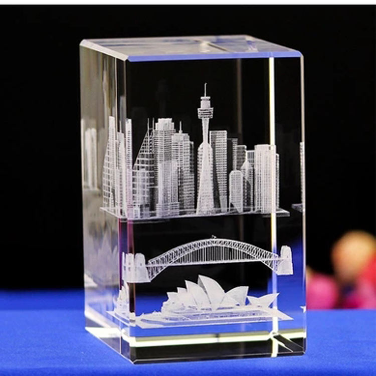 Crystal paperweight Australian architectural model Sydney opera house souvenir customized engraved gift sets