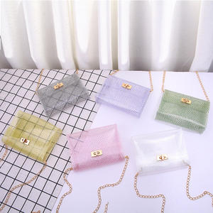 9F143 wholesale 2019 pvc transparent chain crossbody ladies Small square bags material plastic pvc clutch shoulder jelly bag