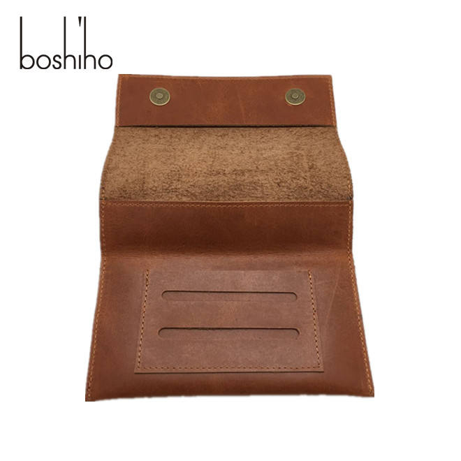 Trending products smoking package bag vintage brown leather tobacco case pouch rolling cigarette bag with logo