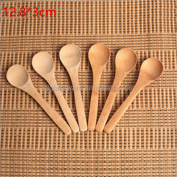 hot selling wholesale price 12.8cm small bamboo spoon accepting laser engraving logo