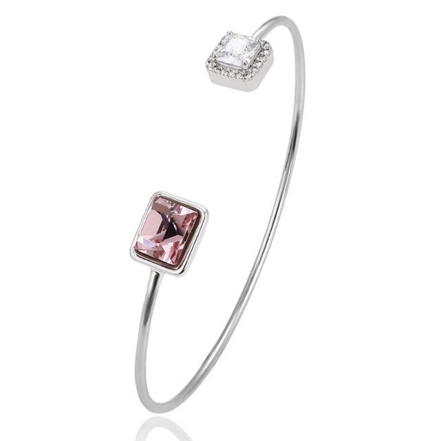 51711 Xuping pink stone open bangle,simple designed white gold bangles,crystals from Swarovski gold jewellery