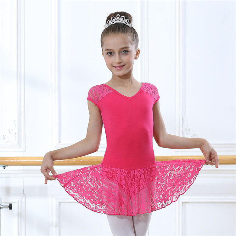 Wholesale High Quality Kids Girls Dance Wear Sexy Short Sleeve Leotard with lace skirt