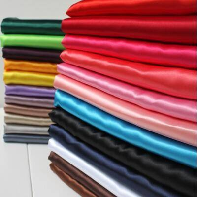 2018 Hotsales 100% polyester colorful stock cheap satin fabric