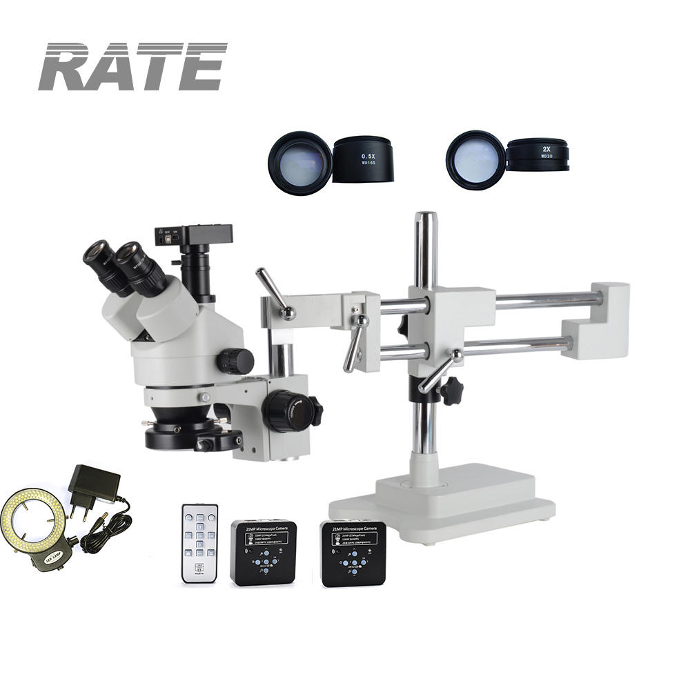 21MP HDMI USB Industry Microscope Camera 3.5X-90X Simul Focal Digital Double Boom Stand Trinocular Stereo Microscope 144PC Light