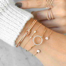 HB1020 simple personality knotted ring bracelet with diamond arrow four-piece opening bracelet