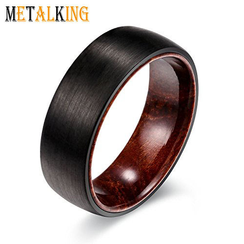 8mm Mens Tungsten Wedding Ring with Brazilian Rose Wood Inner Brushed Black Wedding Band